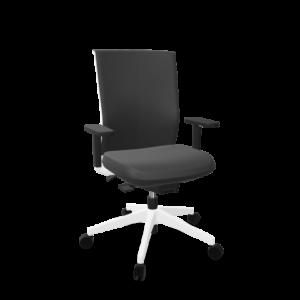 silla stay tapizado rex negro con brazo sin cabezal base blanca