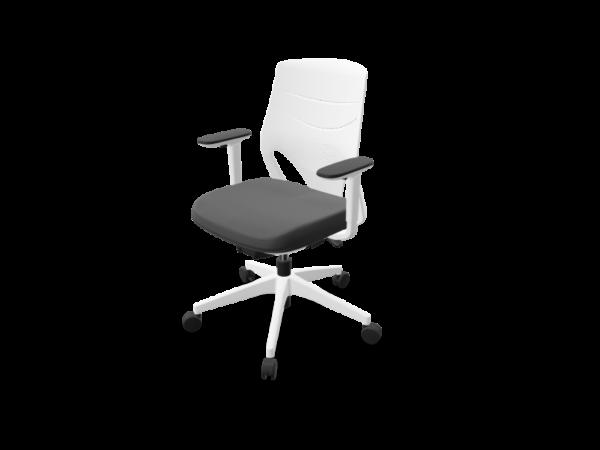 Silla blanca, asiento tapizado negro