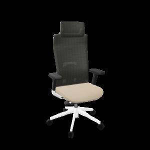 silla Tnk direccion alto - base blanca asiento beige t70